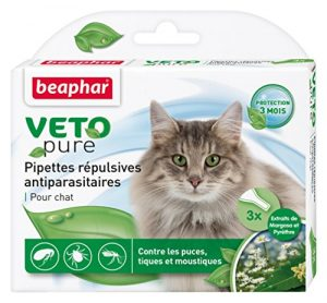 Beaphar – VETOpure, pipettes répulsives antiparasitaires – chat – 3 pipettes