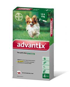 Advantix Très petit chien 1,5 à 4 kg- 4 pipettes antiparasitaires 0,4 ml