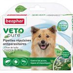 Beaphar – VETOpure, pipettes répulsives antiparasitaires – chien de taille moyenne (15-30 kg) – 3 pipettes