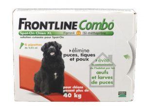 Frontline Combo Anti-Parasitaire Puce et Tique pour Très Grand Chien de 40-60 kg- 6 Pipettes