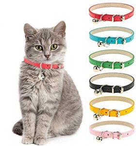 99AMZ Collier Réglable en Cuir pour Animal Colliers pour Chat en Cuir avec Clochette Amovible et Boucle en métal Poli, Doux et réglable pour Chats et Chiots de Petite et Moyenne Taille (Roseb)