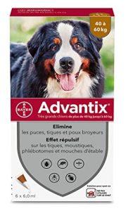 ADVANTIX Très Grand Chien – Anti-Puces et Anti-Tiques – 40-60KG – 6 Pipettes