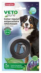 Beaphar – VETOpure, collier répulsif antiparasitaire réfléchissant – grand chien – noir