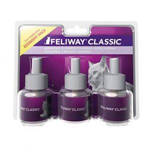 FELIWAY Classic – Anti-Stress pour Chat – Pack de 3 Recharges – 3 x 48 ML