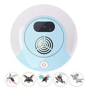 GLXQIJ Prise éLectronique Ultrasonique Anti-Parasitaire, ContrôLe Intelligent des Parasites, Commutateur Tactile Et éCran LCD pour Souris Souris Rats Cafards AraignéEs,Blue