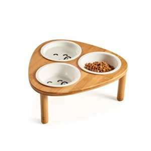 GZQDX Bol Animal, Animal Solide en Bambou for Elevated dîner Feeder Petits Chiens et Chats Raised Stand avec 3 Bols en céramique