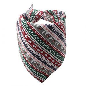Inconnu WFZ17 Serviette de Noël pour Chien Bandana Père Noël Bonhomme de Neige Arbre Bavoirs Salive Foulard Médium Christmas White