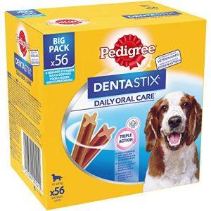 Pedigree Dentastix – Friandises pour moyen chien, 56 bâtonnets à mâcher pour l'hygiène bucco-dentaire (8 sachets de 7 Sticks)