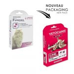 VETOCANIS Spot on, Pipettes Anti-puces et Anti-tiques Chat, 3 pipettes = Protection 15 Semaines