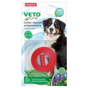Beaphar – VETOPURE, collier répulsif antiparasitaire – grand chien – rouge