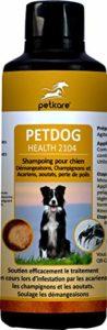 Peticare Chien Bio Shampoing Anti-Puces et Demangeaisons – Shampooing spécial Aussi Contre acariens et infestation fongique, soulage prurit, Soins pour Peau Sensible – petDog Health 2104 (500 ML)