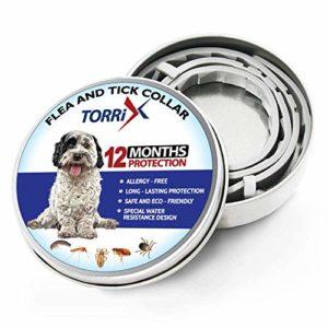 TORRIX Collier pour Chien – 12 Mois médicament Anti-puces – Collier réglable, sûr et résistant à l'eau