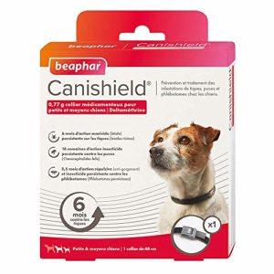 BEAPHAR – CANISHIELD 0,77 g – 1 collier antiparasitaire pour petits et moyens chiens – Substance active : Deltaméthrine – Agit contre les tiques, les puces et les phlébotomes