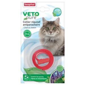 Beaphar – VETOpure, collier répulsif antiparasitaire – chat et chaton – rouge