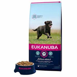Eukanuba – Croquettes Premium Chiens Adultes Grandes Races – 100% Complète et Equilibrée – Riche en Poulet Frais – Sans Protéines Végétales Cachées, OGM, Conservateurs ou Arôme Artificiel – 15kg