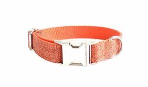 Amody Collier de Chien Réglable en Polyester Ruban Collier Chien Collier Classique pour Petit ou Gros Chien Orange S