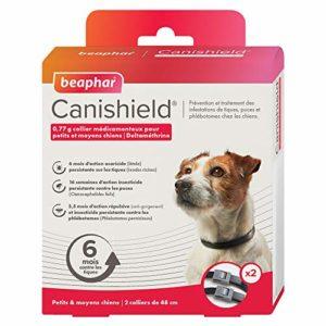 BEAPHAR – CANISHIELD 0,77 g – Lot de 2 colliers antiparasitaires pour petits et moyens chiens – Substance active : Deltaméthrine – Agit contre les tiques, les puces, les phlébotomes