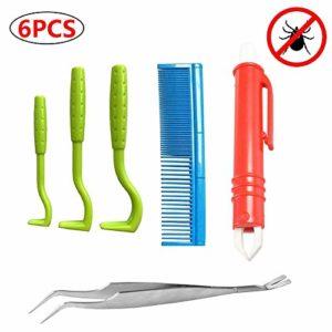 Kit d'outils anti-tiques en acier inoxydable pour chiens, chats, chevaux, hommes, kit professionnel de déchiqueteuse de puces avec 1 pince à tiques 3 pièces