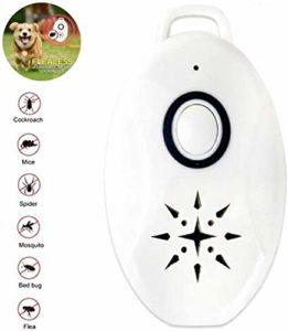 N/O USB Répulsif à ultrasons portable portable anti-insectes nuisibles en plein air antiparasitaire anti-puces et anti-tiques pour chiens, chats, animaux domestiques. 2Pcs