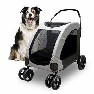 Poussette pour chien pour grand animal de compagnie – Poussette respirante avec 4 roues et espace de rangement – Voyage jusqu'à 55 kg