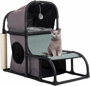 SGRMYS Arbre Stable Chat Jouet Chat lit Chat Maison Maison Appartement Balle/avec sisal Naturel,Black