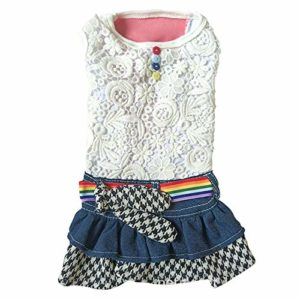 U/A Vêtements pour Chien Pet Lace Denim Skirt Pet Cat Dog Dog Dog Princess Dress