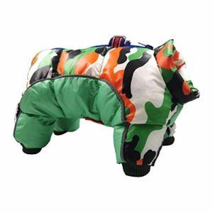 U/A Vêtements pour Chiens Automne et Hiver Camouflage pour Animaux de Compagnie vêtements en Coton imperméable et résistant au Froid Manteau pour Chien Veste à Quatre Pattes en Coton vêtements