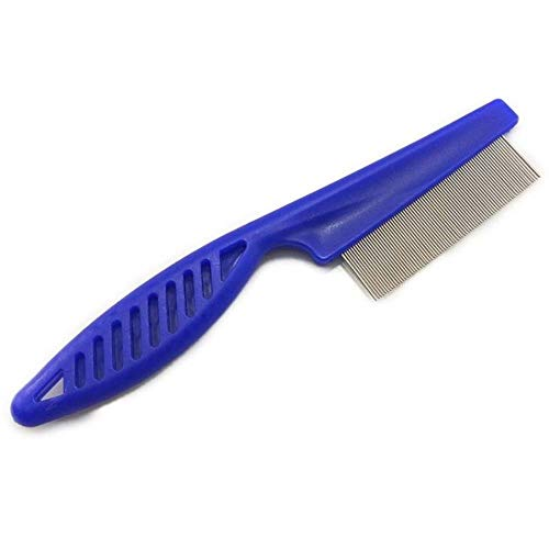 Gbcyp Chats et Chiens Animaux de Compagnie en Acier Inoxydable Confort puces Outils de beauté Vermifuge Brosse Cheveux Courts Longs, Bleu, L 18,5 cm