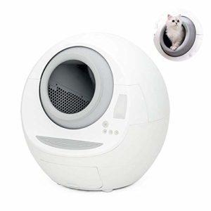 Kyman Litière Automatique Chat Box, complètement fermé Intelligent Propre Toilette for Chat télécommande Capteur de gravité Extra Large Espace antibactériennes Produits for Les Chats