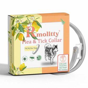Rmolitty Collier Anti Puces Tique, Traitement aux puces aux huiles Naturelles pour Une Protection de 8 Mois, Longueur de 70 cm pour Moyen Grand Chien