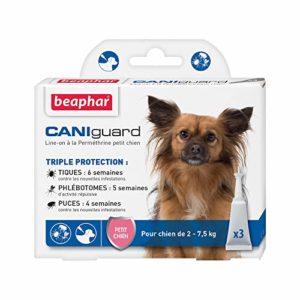 BEAPHAR – CANIGUARD – Line-on à la Perméthrine pour petit chien (2 kg – 7,5 kg) – Action curative et préventive contre les tiques, les phlébotomes et les puces – 3 pipettes de 2 ml