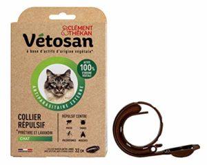 CLÉMENT THÉKAN VÉTOSAN Collier répulsif pour chat – Actifs 100% d'origine végétale – Collier anti-puces et anti-tiques – 1 collier de 32 cm