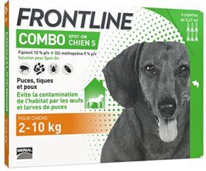 FRONTLINE Combo Chien – Anti-puces et anti-tiques pour chien – 2-10kg – 6 pipettes