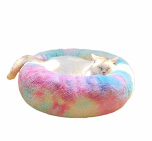 Jilisay Fluffy Peluche Lits d'animaux for Chats ou Petits Chiens, Deluxe Amovible Lit for Chat, Lavable Donut Chat lit (L) (Color : M)