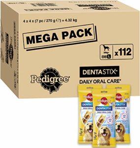 Pedigree Dentastix – Friandises pour grand chien, 112 bâtonnets à mâcher pour l'hygiène bucco-dentaire (16 sachets de 7 Sticks) – Amazon Pack