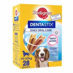 Pedigree Dentastix – Friandises pour moyen chien, 112 bâtonnets à mâcher pour l'hygiène bucco-dentaire (16 sachets de 7 Sticks)