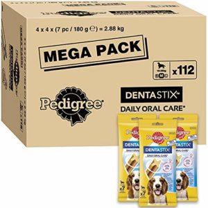 Pedigree Dentastix – Friandises pour moyen chien, 112 bâtonnets à mâcher pour l'hygiène bucco-dentaire (16 sachets de 7 Sticks) – Amazon Pack