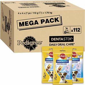Pedigree Dentastix – Friandises pour petit chien, 112 bâtonnets à mâcher pour l'hygiène bucco-dentaire (16 sachets de 7 Sticks) – Amazon Pack