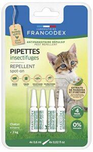 Francodex Lot de 4 pipettes anti-parasitaire naturelles pour chats jusqu'à 2 kg