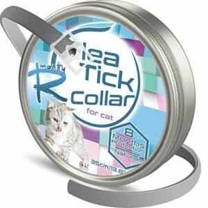 Rmolitty Collier Anti puces pour Chat, Collier Anti tiques, Imperméable 35cm Collier Antiparasitaire Huiles Naturelles pour 8 Mois de Protection