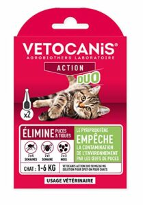 Vétocanis – Action Duo Pipette Anti-Puces Anti-Tiques Chat – Traitement et Protection Antiparasitaire Chat 2-6 kg et Habitat – Lot de 2