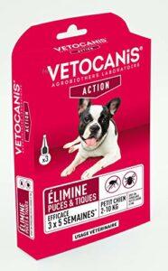 Vétocanis – Fiprocanis Pipette Anti-Puces Anti-Tiques Chien – Traitement et Protection Infestations – Antiparasitaire Petit Chien 2-10 kg– Lot de 3