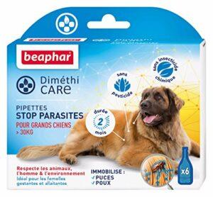BEAPHAR – DIMÉTHICARE – Pipettes stop parasites pour grand chien (>30kg) – Contre puces, tiques et poux – Sans pesticide et sans insecticide chimique – À l'Aloe Vera – Durée 2 mois – 6 pipettes