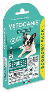 Vétocanis Pipette Preventis Solution Répulsive Antiparasitaire – 4 Mois sans Tiques, Puces et Moustiques – Petit Chien 2 à 10 kg – Margosa Répulsif Naturel – X4