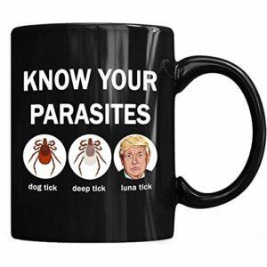 NA Connaissez Vos PARASITES Anti-Trump Connaissez Vos Parasites Cerf Tique Chien Tique Luna Tick Tasse À Café 11 oz Tasses À Thé 6FQ8T0